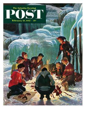 """Apres Ski Bonfire"" Saturday Evening Post Cover, February 23, 1952 by John Clymer"