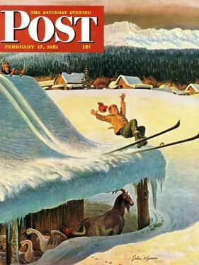 """Barn Skiing"" Saturday Evening Post Cover, February 17, 1951 by John Clymer"