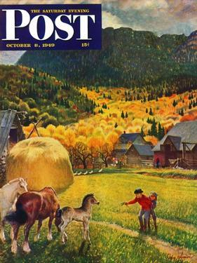 """""""Belgian Horse Farm,"""" Saturday Evening Post Cover, October 8, 1949 by John Clymer"""
