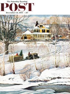 """""""Bringing Home the Tree"""" Saturday Evening Post Cover, December 21, 1957 by John Clymer"""