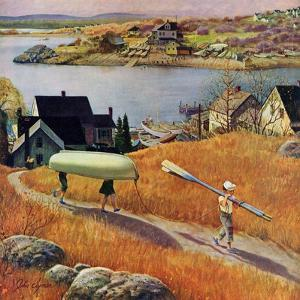"""Children with Rowboat"", October 31, 1953 by John Clymer"