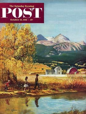 """""""Colorado Creek"""" Saturday Evening Post Cover, October 13, 1951 by John Clymer"""