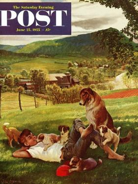 """""""Dog Days of Summer"""" Saturday Evening Post Cover, June 25, 1955 by John Clymer"""