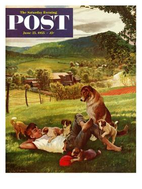 """Dog Days of Summer"" Saturday Evening Post Cover, June 25, 1955 by John Clymer"