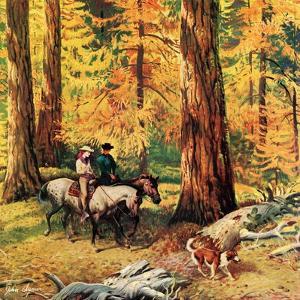 """""""Fall Horseback Ride"""", October 20, 1956 by John Clymer"""