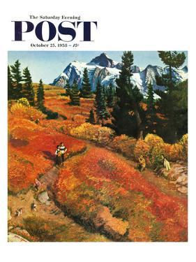 """Fall Photo Op"" Saturday Evening Post Cover, October 25, 1958 by John Clymer"
