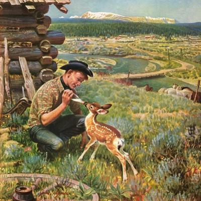 """Feeding Fawn Near Flowering Field"", May 27, 1950 by John Clymer"