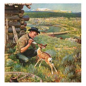 """Feeding Fawn Near Flowering Field"", May 27, 1950 by John Clymer"