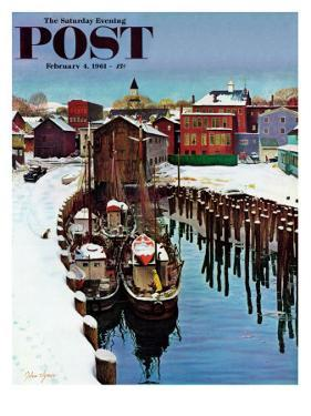 """Gloucester Harbor in Winter,"" Saturday Evening Post Cover, February 4, 1961 by John Clymer"