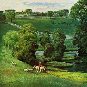 """Green Kentucky Pastures,"" July 29, 1961 by John Clymer"