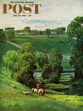 """""""Green Kentucky Pastures,"""" Saturday Evening Post Cover, July 29, 1961 by John Clymer"""