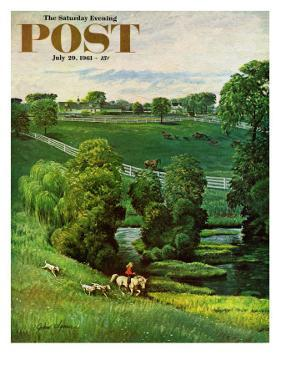 """Green Kentucky Pastures,"" Saturday Evening Post Cover, July 29, 1961 by John Clymer"