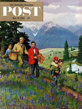 """""""Hiking in Mountains"""" Saturday Evening Post Cover, May 31, 1952 by John Clymer"""
