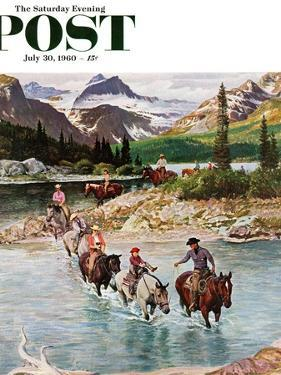"""Horseback Riding in Glacier Park,"" Saturday Evening Post Cover, July 30, 1960 by John Clymer"