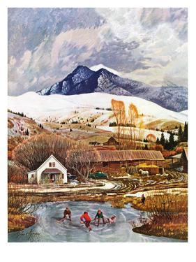 """Ice Hockey on Mountain Pond"", December 13, 1958 by John Clymer"