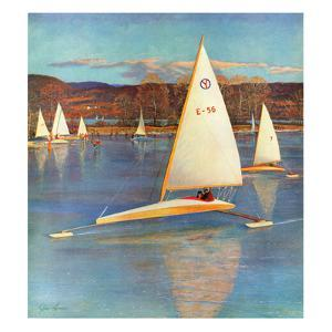 """Iceboating in Connecticut"", November 28, 1959 by John Clymer"