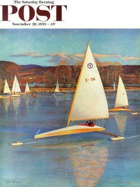 """Iceboating in Connecticut"" Saturday Evening Post Cover, November 28, 1959 by John Clymer"