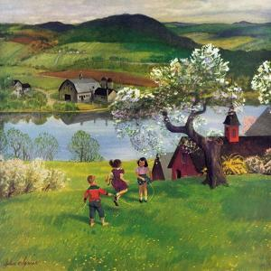 """""""Jumping Rope Under the Apple Tree"""", April 25, 1953 by John Clymer"""
