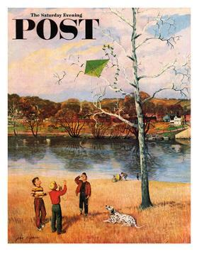 """Kite in the Tree"" Saturday Evening Post Cover, March 10, 1956 by John Clymer"
