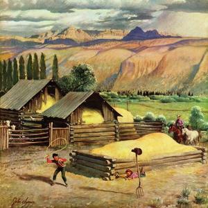 """""""Lasso Practice"""", September 18, 1954 by John Clymer"""
