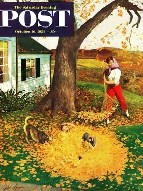 """""""Leaf Pile"""" Saturday Evening Post Cover, October 16, 1954 by John Clymer"""