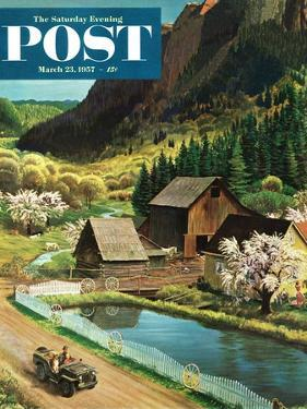 """""""Mountain Farm"""" Saturday Evening Post Cover, March 23, 1957 by John Clymer"""