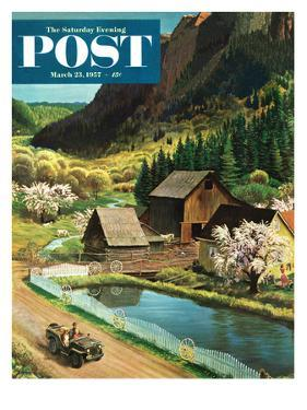 """Mountain Farm"" Saturday Evening Post Cover, March 23, 1957 by John Clymer"