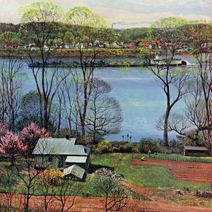 """Ohio River in April,"" April 15, 1961 by John Clymer"