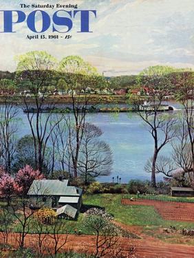 """""""Ohio River in April,"""" Saturday Evening Post Cover, April 15, 1961 by John Clymer"""