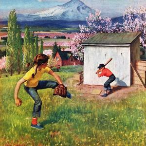 """Oregon Baseball"", April 21, 1951 by John Clymer"