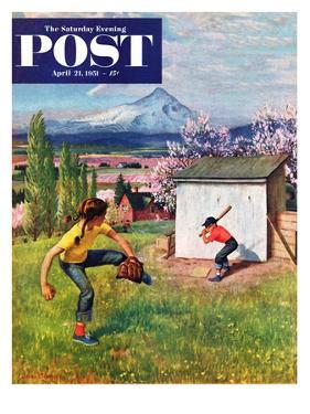 """Oregon Baseball"" Saturday Evening Post Cover, April 21, 1951 by John Clymer"