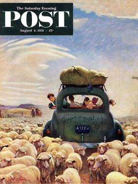 """""""Oregon or Bust"""" Saturday Evening Post Cover, August 4, 1951 by John Clymer"""