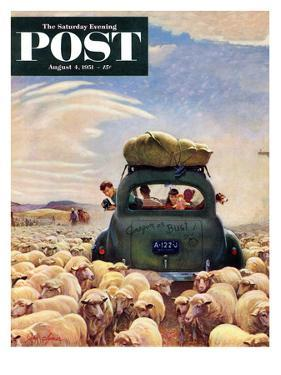"""Oregon or Bust"" Saturday Evening Post Cover, August 4, 1951 by John Clymer"