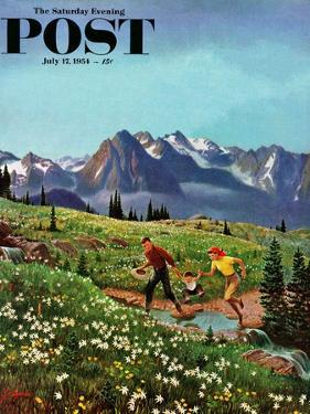 """Picnic On Mt. Ranier"" Saturday Evening Post Cover, July 17, 1954 by John Clymer"