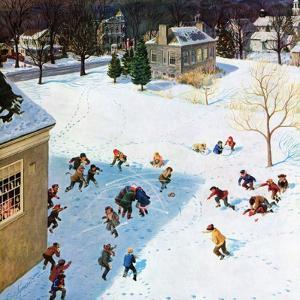 """""""Snowball Recess"""", February 4, 1956 by John Clymer"""