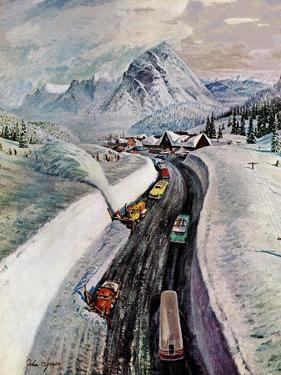 """""""Snowplows at Snoqualmie Pass,"""" February 6, 1960 by John Clymer"""