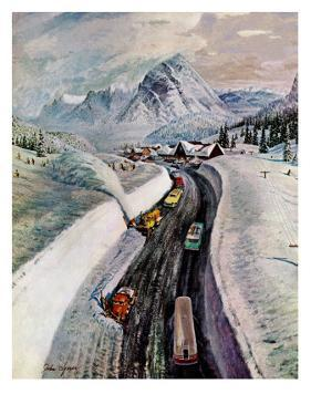 """Snowplows at Snoqualmie Pass,"" February 6, 1960 by John Clymer"