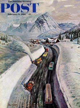 """Snowplows at Snoqualmie Pass,"" Saturday Evening Post Cover, February 6, 1960 by John Clymer"
