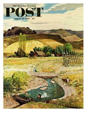 """Swimming in the Creek"" Saturday Evening Post Cover, August 29, 1959 by John Clymer"