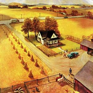 """Thanksgiving on the Farm"", November 26, 1955 by John Clymer"