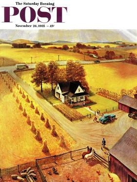 """Thanksgiving on the Farm"" Saturday Evening Post Cover, November 26, 1955 by John Clymer"