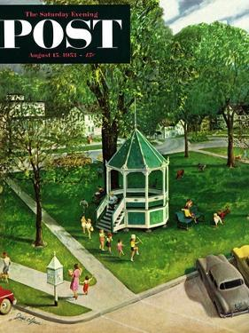 """Town Green"" Saturday Evening Post Cover, August 15, 1953 by John Clymer"