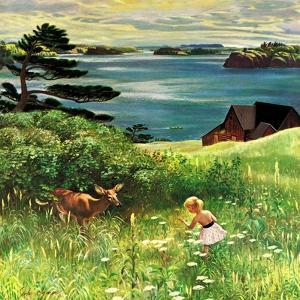 """""""Two Little Dears"""", August 25, 1956 by John Clymer"""