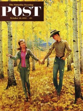 """""""Walk in the Forest"""" Saturday Evening Post Cover, October 18, 1952 by John Clymer"""