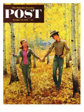 """Walk in the Forest"" Saturday Evening Post Cover, October 18, 1952 by John Clymer"