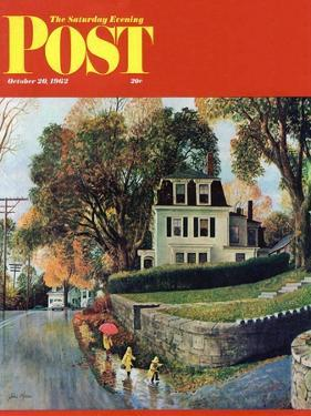"""Walking Home in the Rain,"" Saturday Evening Post Cover, October 20, 1962 by John Clymer"