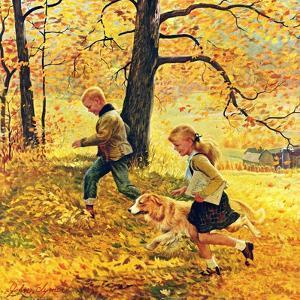 """Walking Home Through Leaves"", October 7, 1950 by John Clymer"