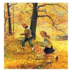 """Walking Home Through Leaves"", October 7, 1950 by John Clymer"