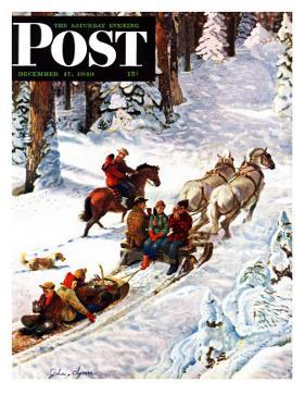 """Winter Sleigh Ride,"" Saturday Evening Post Cover, December 17, 1949 by John Clymer"