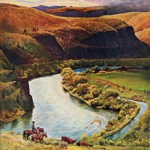 """Yakima River Cattle Roundup"", May 10, 1958 by John Clymer"